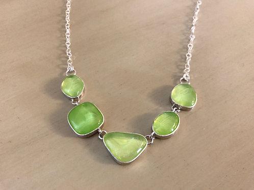 Five Piece Lime Green Shape Necklace