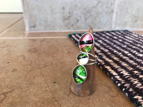 Three Piece Pink and Green Ring