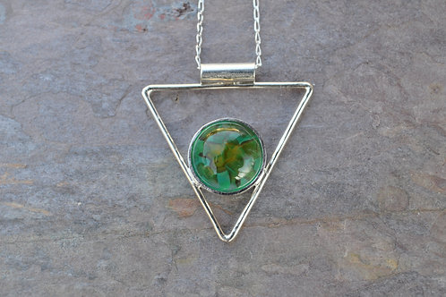 Aqua and Amber Triangle Necklace