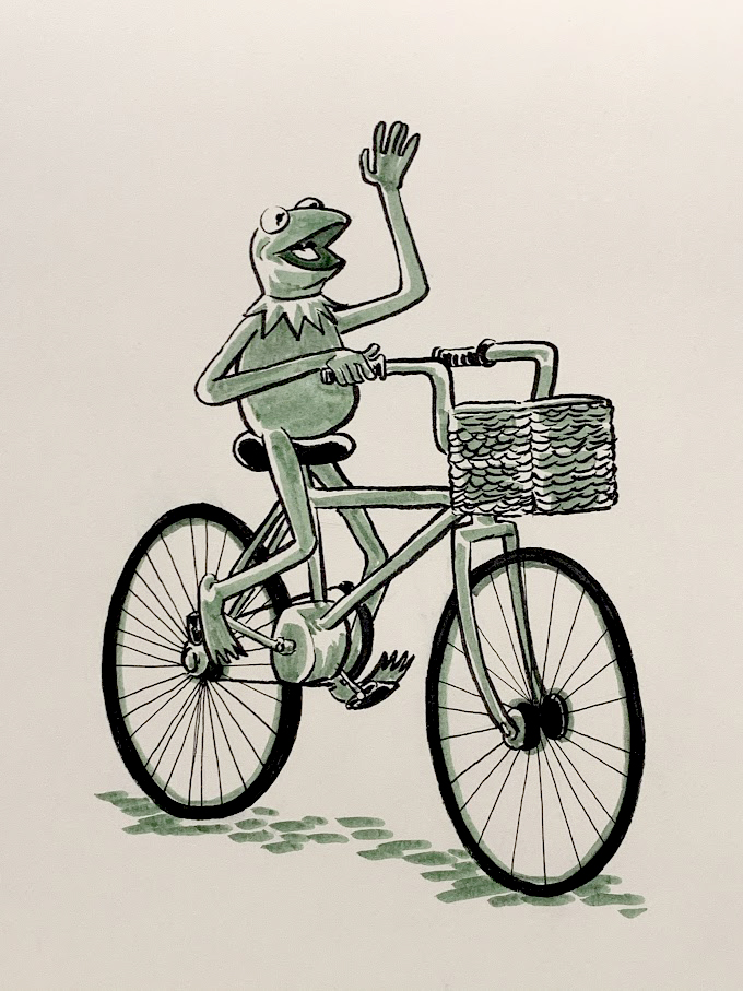 Kermit on bike