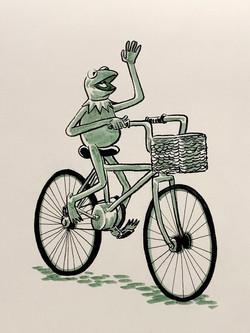 Kermit on bike