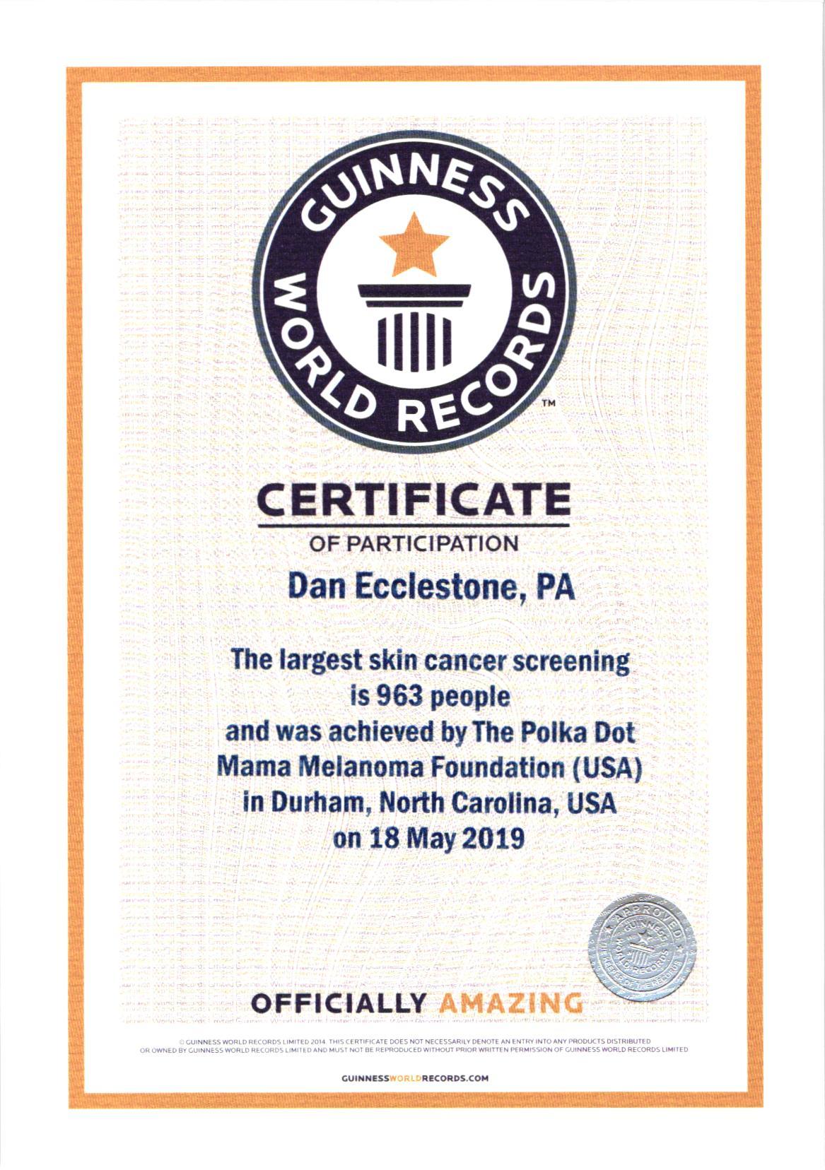 Guinness Certificate DE