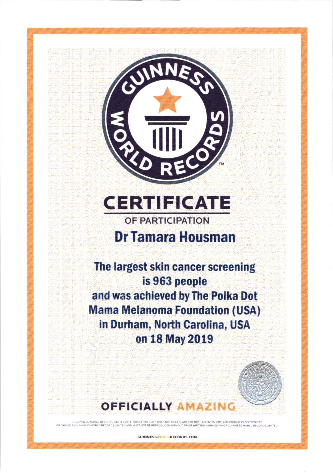 Guinness Certificate TSH