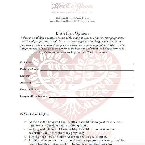 Customizable Birth Plan