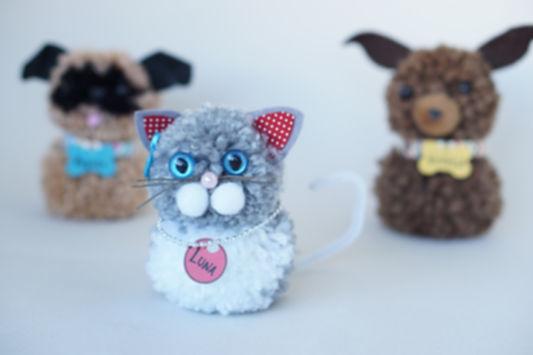 Animais de Pompom: cachorro, gato, foca, urso, coelho, pintinho.