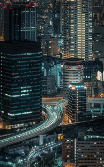 Vue nocturne d'Osaka