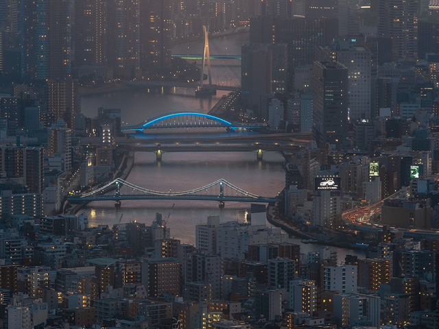 Night view on Sumida River