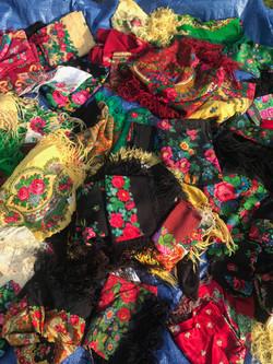 Ukrainian vintage scarves in Kosiv