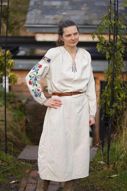 Vintage linen hand embroidered dress from Yavoriv