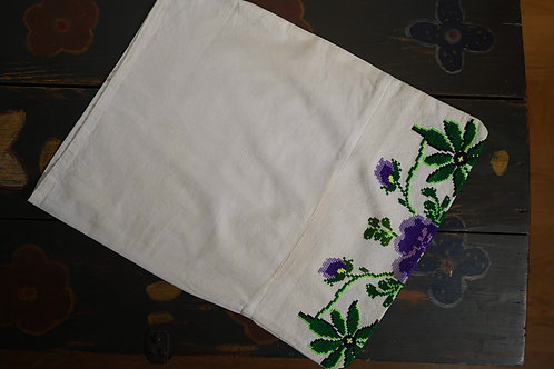 Vintage handembroidered cushion cover with pansy
