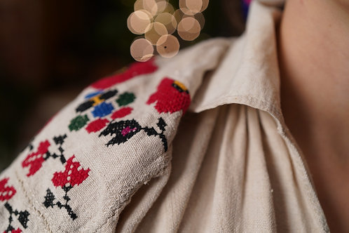 Vintage hand embroidered tunic from Polissia