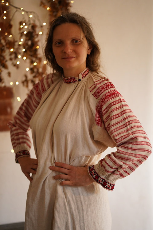 Antique linen dress from Polissia, Ukraine