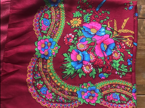 Vintage head scarf/ shawl with floral design