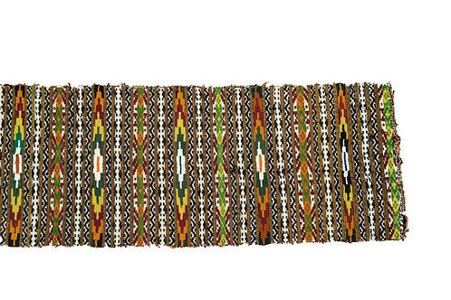 Handwoven kilim with green and orange