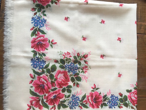 Vintage wool scarf from Ukraine with floral design
