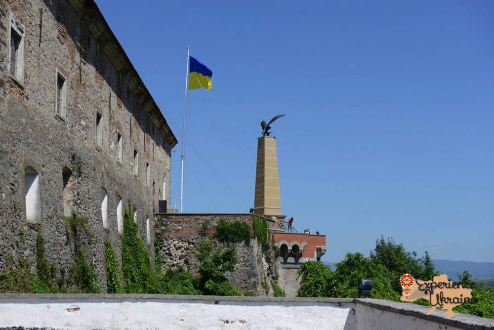 Mukachevo castle and flag-imp