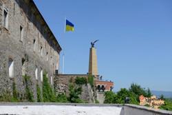 Mukachevo castle and flag-imp