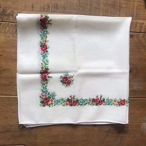 Vintage wool head scarf with floral design