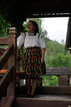Lady in traditional costume, Romania