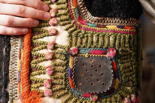 Antique hutsul sheepskin waistcoat