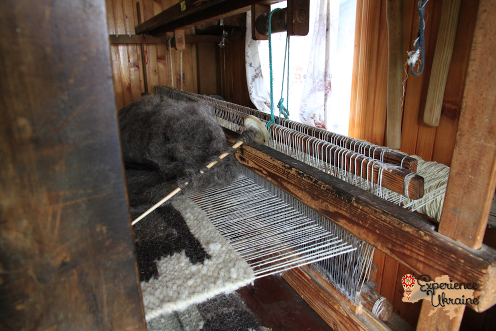 wooden loom for weaving wool rugs