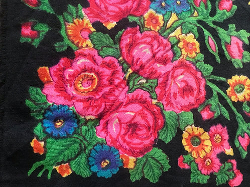 Vintage black scarf with floral design from Ukraine