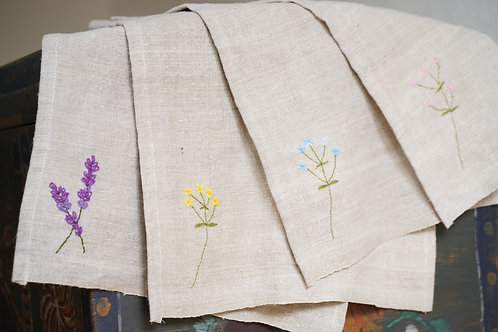 Hand embroidered tea towel made from handwoven linen from Ukraine