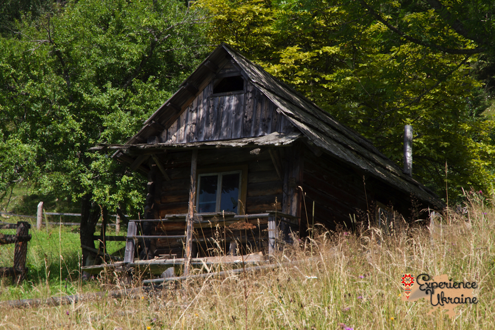 Old wooden house in Dzembronya