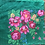 Thumbnail: Vintage green shawl/ headscarf with floral design.