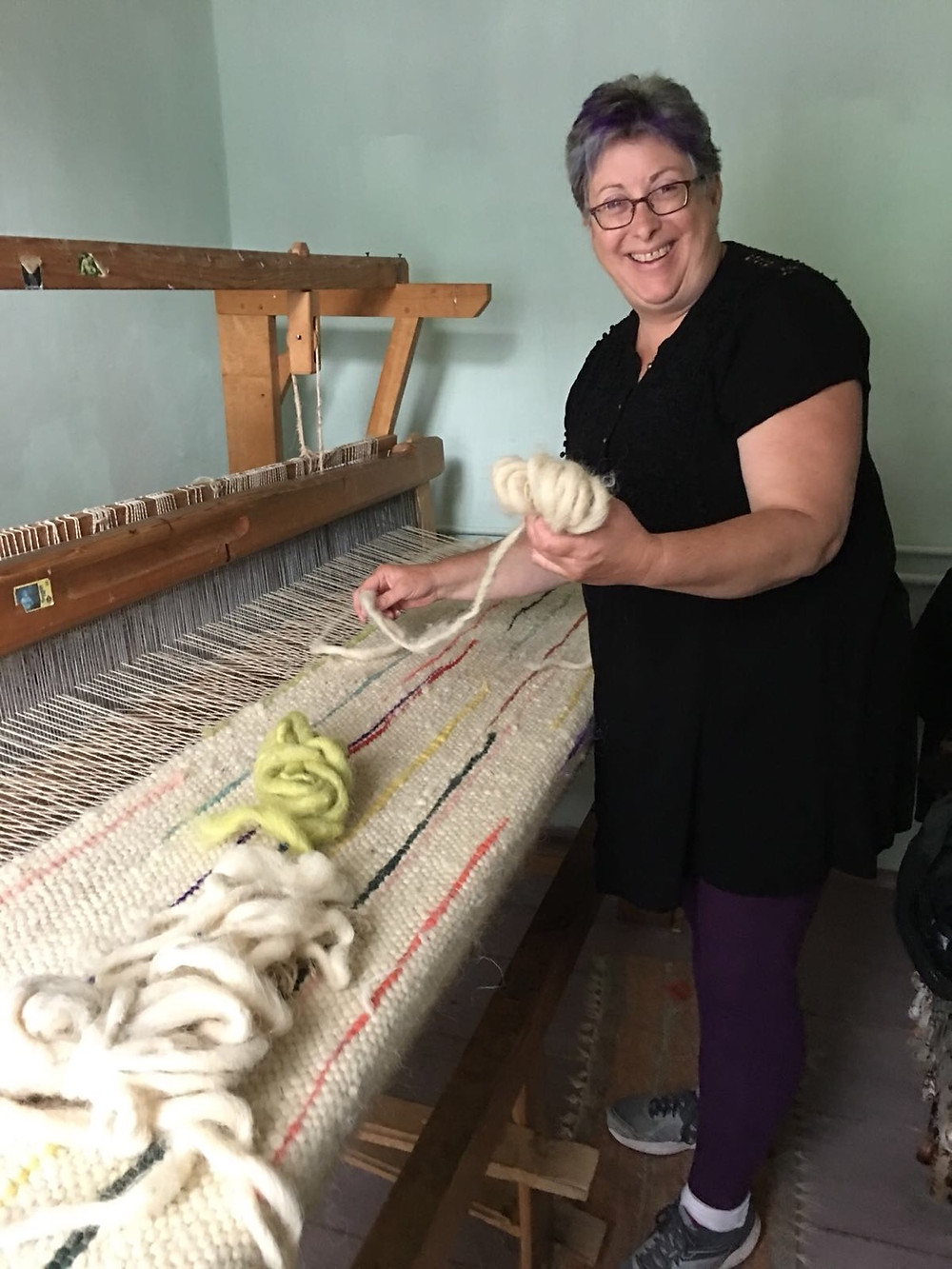 Weaving workshop in weavers house.