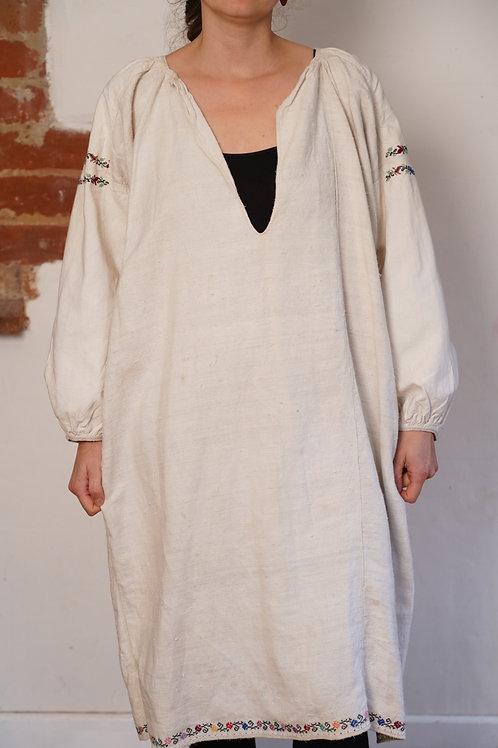 Vintage hemp hand embroidered dress