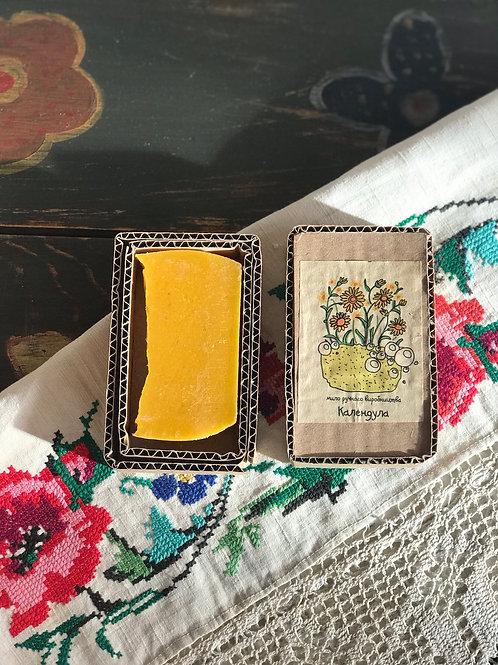 Handmade soap with calendula and orange.