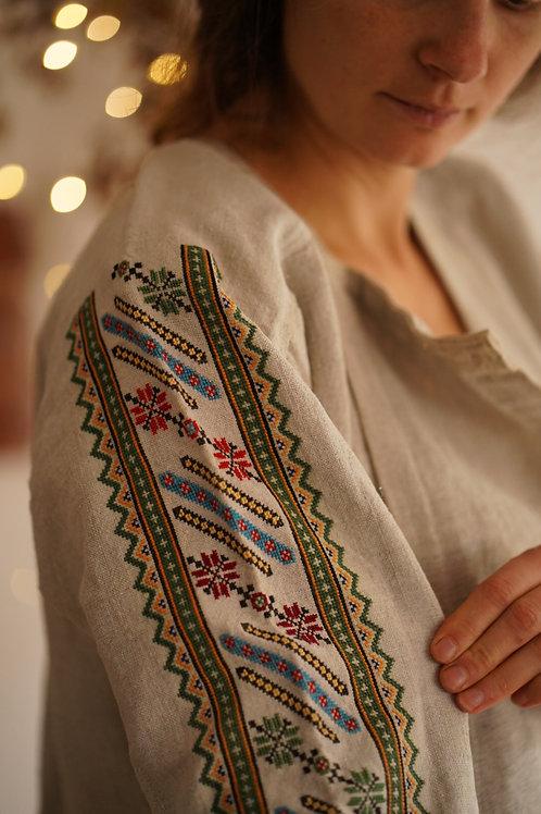 Traditional hemp dress with geometric design