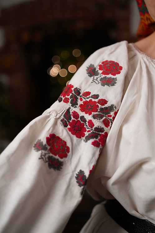 Vintage hand embroidered cotton dress from Ukraine