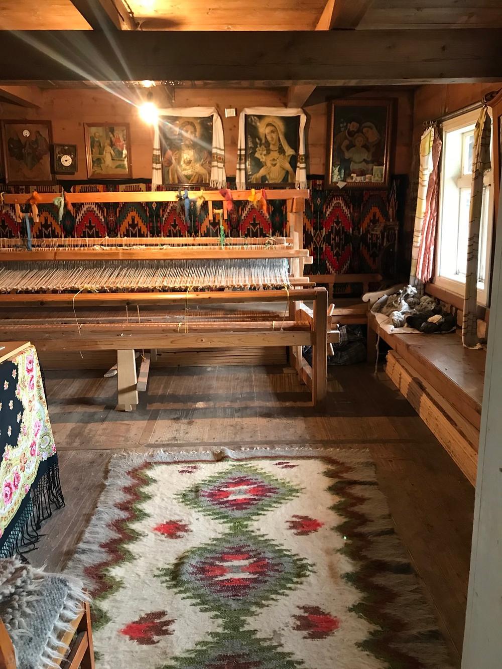 Traditional loom inside the traditional khata-grazhda house.