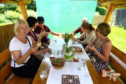 Group at herbal tea and honey-imp