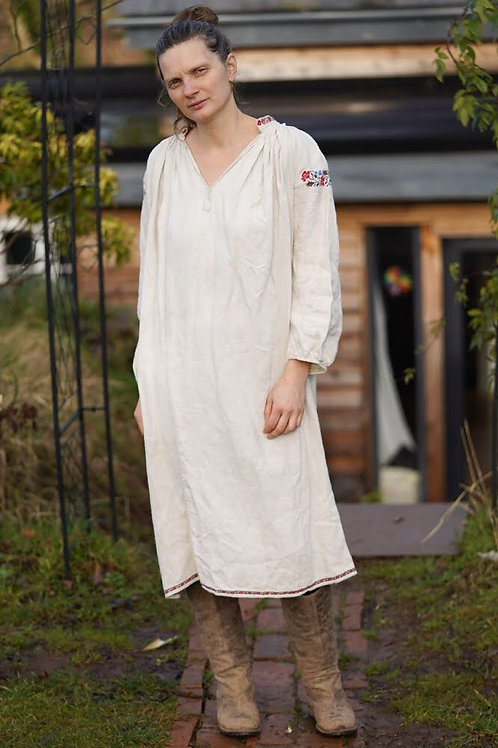 Vintage hand embroidered hemp dress