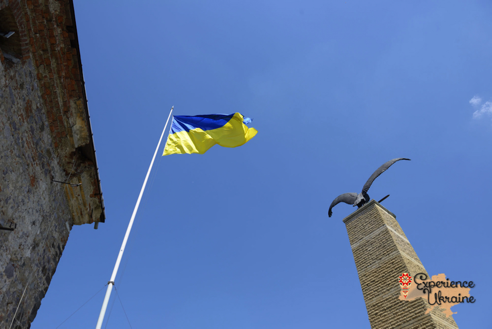 Ukrainian flag at Mukachevo Castle-imp