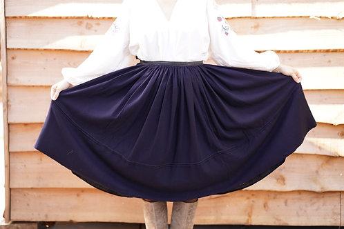Vintage navy wool folk skirt from Ukraine