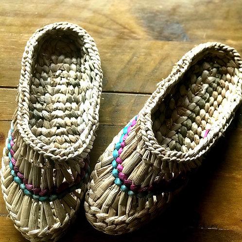 Handwoven bulrush slippers from Ukraine