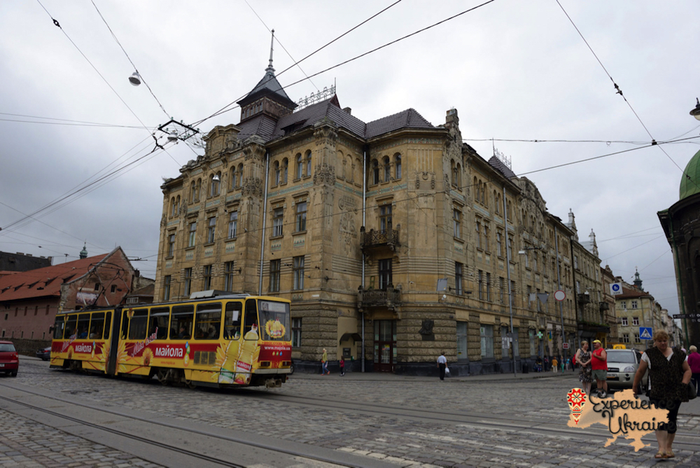 Tram and building Lviv-imp