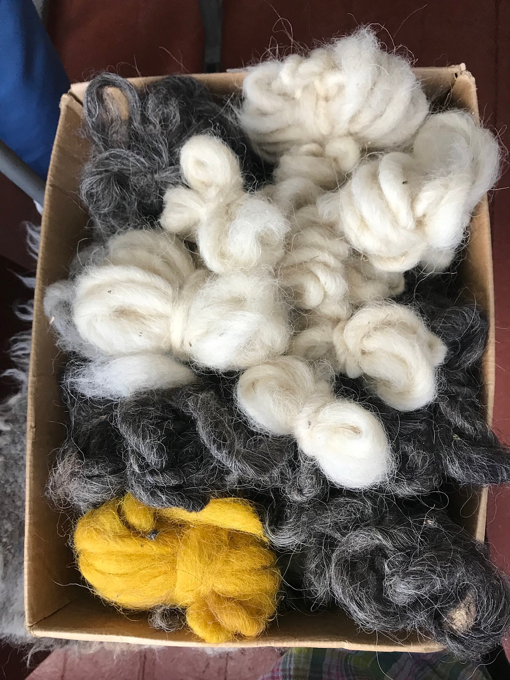 hands-on gushkas of  wool for weaving.
