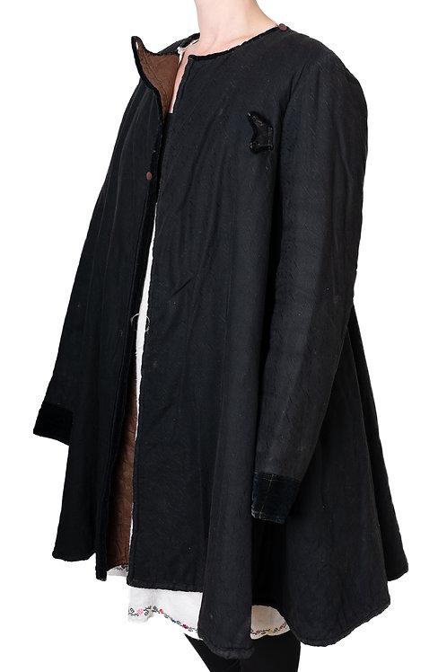 Very heavy handquilted vintage black coat