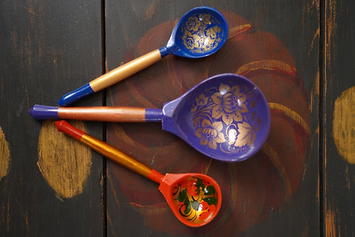 Hand painted blue spoon