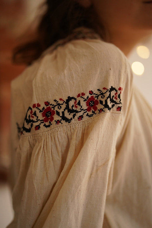 Vintage hand embroidered cotton dress