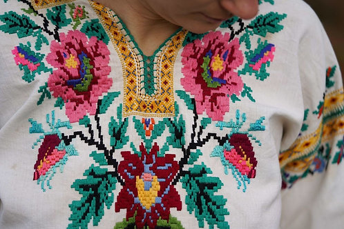 Beautiful hand embroidered linen top from Carpathians