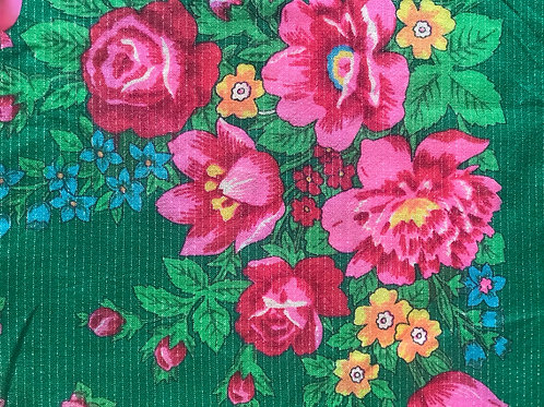 Vintage green shawl/ headscarf with floral design.