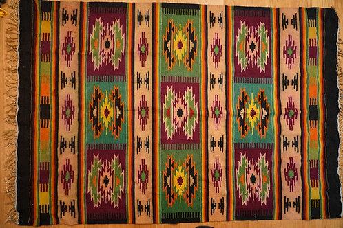Vintage handwoven wool kilim from Carpathian Mountains