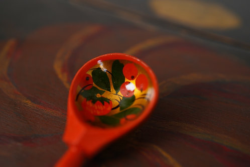 Hand painted red spoon from Ukraine
