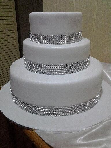 Wedding Cake With Diamond Ribbon